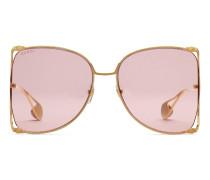 Extragroße Sonnenbrille mit rundem Rahmen aus Metall