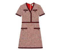 Kleid aus gestreiftem Tweed mit V-Ausschnitt