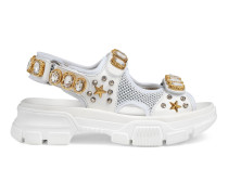 Sandale aus Leder und Netz mit Kristallen