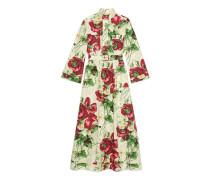 Kleid mit Gürtel und Mohnblumen-Print