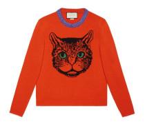 Pullover aus Wollstrick mit Mystic Cat-Motiv