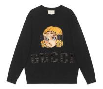 Übergroßer Pullover mit Manga-Patch