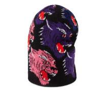 Mütze aus Wolle mit Panther-Gesicht
