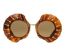Runde Limited Edition Sonnenbrille mit Kristallen