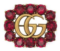 Doppel G Brosche aus Metall mit Kristallen