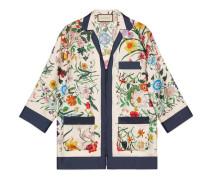 Hemd aus Seidentwill mit Flora-Motiv