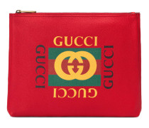 Mittelgroße Aktentasche aus Leder mit Gucci Print