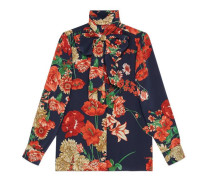 Hemd aus Seide mit Frühlingsstrauß-Print