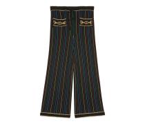 Culotte-Hose aus Wolle mit Lamé-Streifen