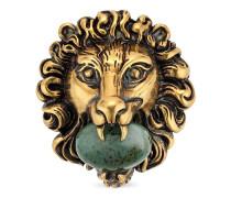 Löwenkopf-Brosche mit Glasstein