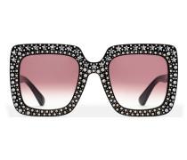 Extragroße quadratische Sonnenbrille mit Kristallen