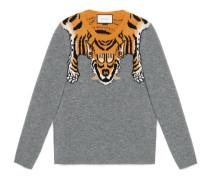 Pullover aus Wolle mit Tiger