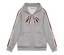 Pullover mit Gucci Streifen mit Reißverschluss