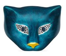 Katzenkopf-Brosche aus Silber mit Email