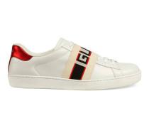 Sneaker aus Leder mit Gucci Streifen