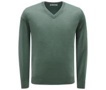 Cashmere V-Neck Pullover graugrün