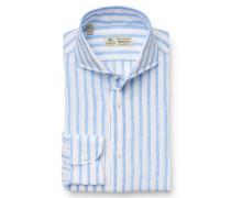 Leinenhemd 'Felice' Haifisch-Kragen weiß/hellblau