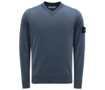 V-Ausschnitt-Pullover rauchblau