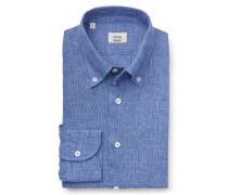 Leinenhemd Button-Down-Kragen blau