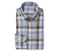 Leinenhemd 'Roy Tailor Fit' Button-Down-Kragen braun