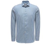 Flanellhemd 'Tailor Fit' Haifisch-Kragen blau/weiß
