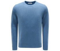 Cashmere R-Neck Pullover rauchblau