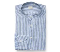 Leinenhemd 'Tailor Fit' Grandad-Kragen dunkelblau