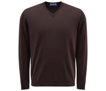 V-Ausschnitt-Pullover dunkelbraun