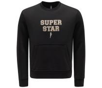 Sweatshirt mit Rundhals 'Super Star' schwarz