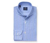 Business Hemd 'Felice' Haifisch-Kragen rauchblau/weiß
