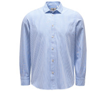Chambray-Hemd 'Silvano Clark' schmaler Kragen rauchblau/weiß