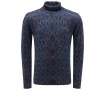 Cashmere Rollkragenpullover blau/grau