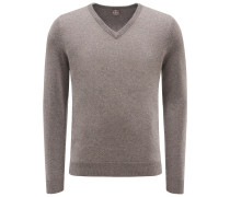 Baby-Cashmere V-Neck Pullover graubraun