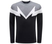 R-Neck Pullover schwarz/dunkelgrau