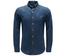 Jeanshemd Button-Down-Kragen graublau