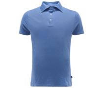 Leinen-Poloshirt rauchblau