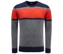 R-Neck Pullover dunkelgrau/rot