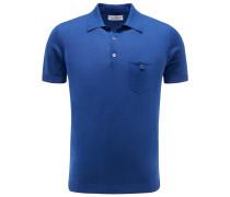 Strick-Poloshirt blau