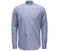 Seersucker-Hemd 'Tailor Fit' Grandad-Kragen navy/weiß