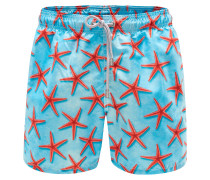 Badeshorts 'Gustavia Red Seastar Big' türkis/rot