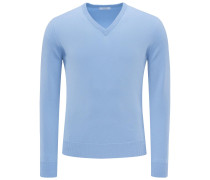 Cashmere V-Neck Pullover 'No. 30' hellblau