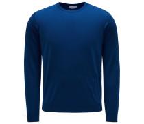 Feinstrick Rundhalspullover blau
