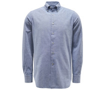 Casual Hemd Button-Down-Kragen graublau