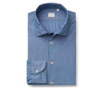 Chambray-Hemd 'Tailor Fit' schmaler Kragen graublau