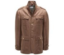 Leinen-Field-Jacket hellbraun