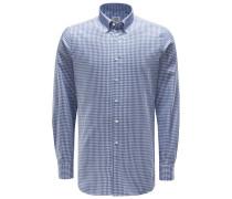 Casual Hemd Button-Down-Kragen graublau/weiß