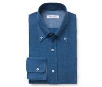 Leinenhemd 'Alfred' Button-Down-Kragen graublau