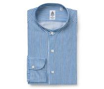 Flanellhemd 'Lorenzo Tokyo' Grandad-Kragen blau/weiß