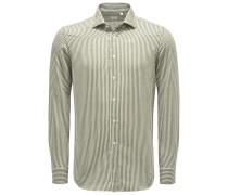 Flanellhemd 'Tailor Fit' Haifisch-Kragen oliv/weiß