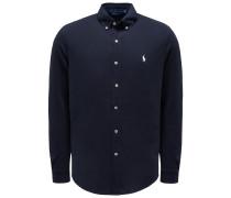 Jersey-Hemd Button-Down-Kragen navy